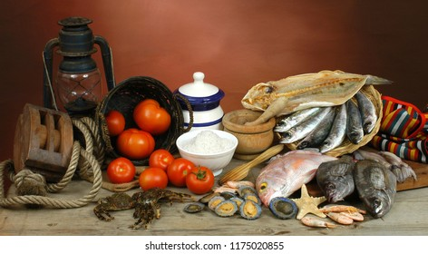 Fish and tomatoes, typical food products on the coasts of Tenerife, Canary Islands