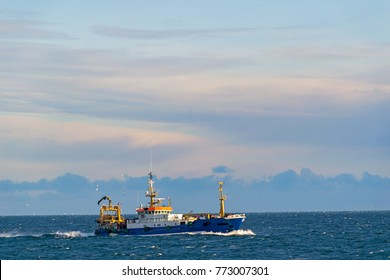 Fish trawler at sea. trawler/fishing boat/fishing vessel/fishing.
