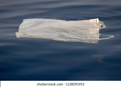 fish under plastic bag in the blue sea