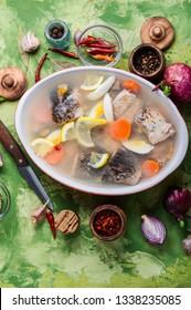 Fish and vegetables aspic.Fish food. Fish dish