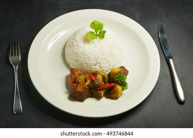 fish vindaloo, with rice in a plate