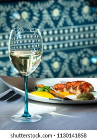 Fish and wine on the eastern style restaurant