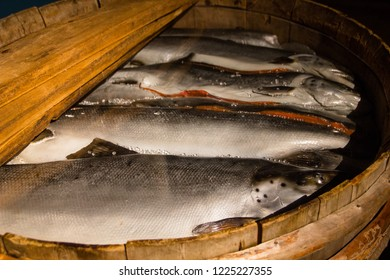 Fish in a wooden basket for storage and keeping fresh. Main food of Lapish people called Sami in Finland and Sweden