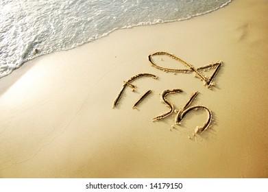"""fish"" written in sand beach"