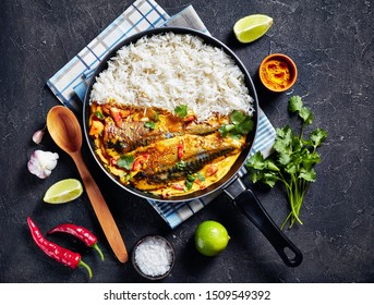 fish yellow curry, Panang curry with Grilled Saba mackerel fish served with steamed long grain rice in a frying pan on a concrete table, view from above, flatlay, free space