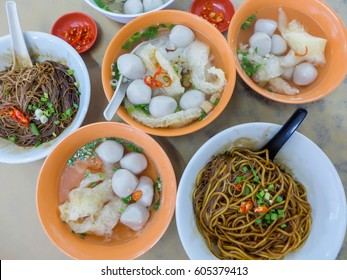 Fishball noodle a delicacy known for their spongy and delicious fishball made from the flesh of wolf herring fish and fish maw / Famous Fishball Noodle / Local and tourist love the dry and soup noodle