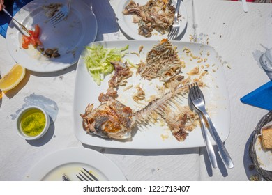 fishbone of a eaten fish known as Donkey or Borriquete (Plectorhinchus mediterraneus) in Spain, in white tray with silverware