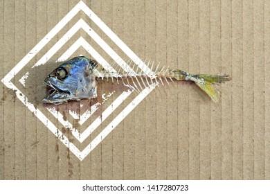 Fishbone separate brown paper background.design patterns Photo illustration.