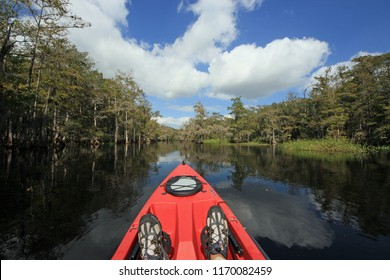 Fisheating Creek Wildlife Management Area, Florida - 10/28/2012: A red kayak in Fisheating Creek, the only remaining free-flowing creek feeding Lake Okeechobee, Florida.