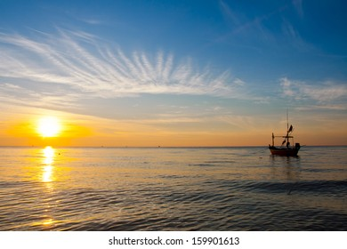 fisher boat on sunset  hua-hin , Thailand