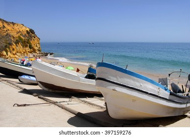 Fisher boats in the coast of Algarve, Portugal