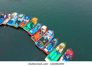 Fisher boats in the harbor. Pucusana, Lima, Peru.