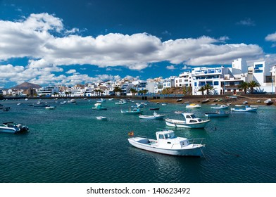 Fisher boats at the laguna Charco de San Gines, city of Arrecife, Lanzarote, Canary Islands