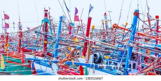 Fisher boats at Naklua Banglamong Pier, Pattaya - Thailand