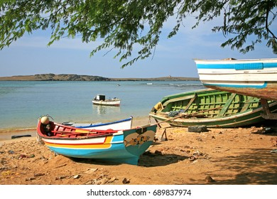 Fisher boats on a beach in Cape Verde islands, Republic of Cabo Verde.  Picture taken in January 2012 in Boa Vista, archipelago of Cape Verde, Republic of Cabo Verde