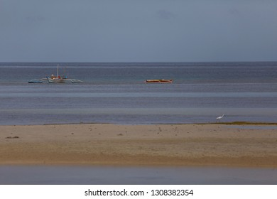fisher boats outrigger and Little egret migrate bird at a low tide beach fishing, a tranquil scene in a sunrise
