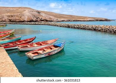 Fisher boats in Pedra Lume harbor in Sal Islands - Cape Verde - Cabo Verde