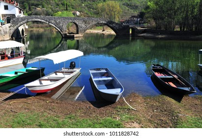 Fisher boats in Rieka Crnojevica town, Montenegro