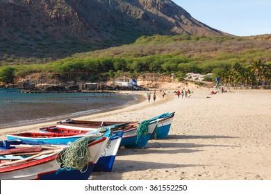 Fisher boats in Tarrafal beach in Santiago island in Cape Verde - Cabo Verde