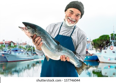 Fisher holding a big atlantic salmon fish in the fishing harbor