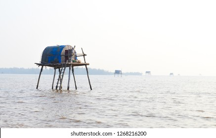 Fisher Housese above the sea in Fisher Village in Dong Chau Beach in Thai Binh Province , Vietnam