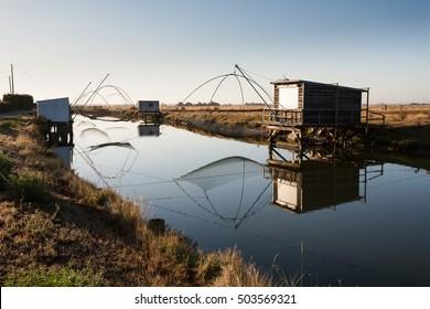 Fisheries in Beauvoir-sur-mer, Vendee, France