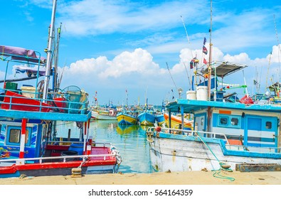The fisheries port of Mirissa is popular tourist landmark of the South Coast and perfect place to enjoy the seaside views, Sri Lanka.