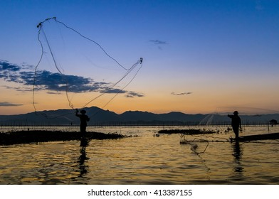 Fisherman action when fishing during sunset