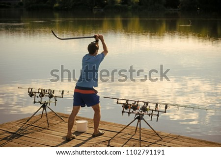 Fisherman Attract Fish Bait River Lake Stock Photo (Edit Now