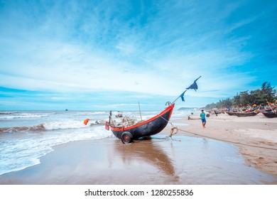 fisherman in the beach in Sam son, thanh hoa, vietnam on July 2016