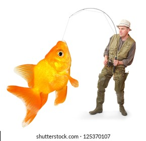 The fisherman with big fish - The Goldfish (Carassius auratus). Success concept.