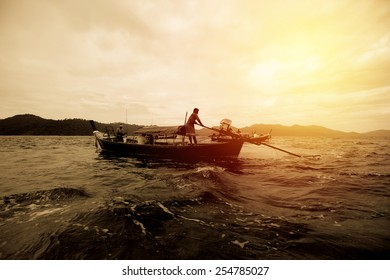 Fisherman boat on Andaman sea Thailand. Vintage filter