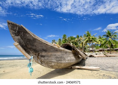 Fisherman boat on the sunny beach with green palm near ocean