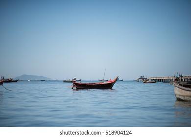 Fisherman boats, Fishing boats of Thailand, Sunny and Blue Sky