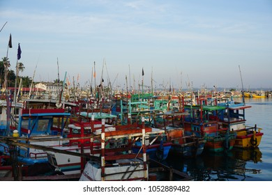 Fisherman boats in morning sun at Sri Lanka harbour
