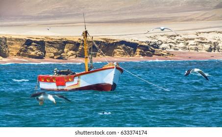 Fisherman boats in Pisco Paracas, Peru, South America