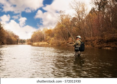 Fisherman catches a trout on the river in autumn