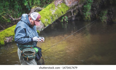 Fisherman changes the bait on the background of the forest river.