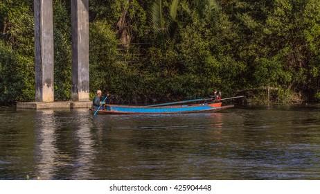 Fisherman in Chaopraya river on May 23, 2016 at Samutprakarn Thailand.