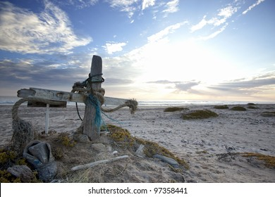 A fisherman cross on the Skeleton Coast of Namibia