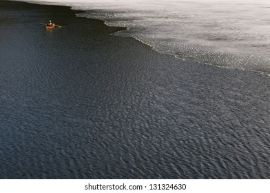 Fisherman during Ice Out