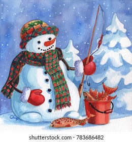 A fisherman with a fishing rod and a full bucket of fish caught. Snow forest background. Hand drawing painted watercolor hobby card.  Winter sale of goods for hobbies and sports banner.