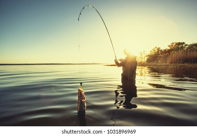A fisherman with a fishing rod in his hand and a fish caught stands in the water