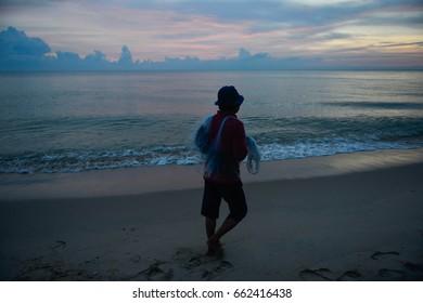 Fisherman was fishing at samila beach in songkhla Thailand.