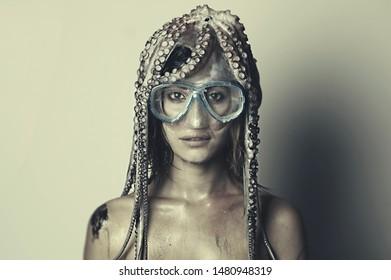 fisherman girl octopus misfortune snorkeling