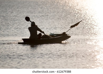 a fisherman with his boat to catch fish