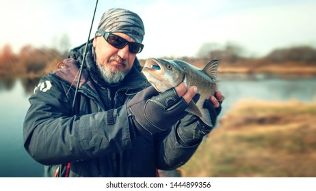 Fisherman holds asp in his hands.