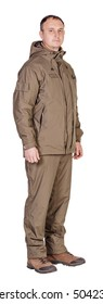 Fisherman or hunter man standing full body isolated over white background. hobby and lifestyle concept.