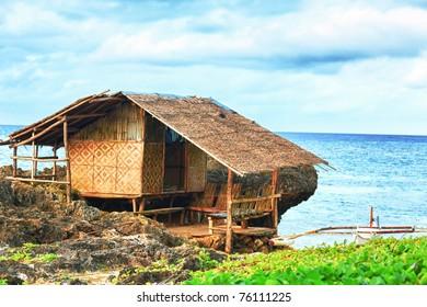 Fisherman hut on the coast. Bohol. Philippines