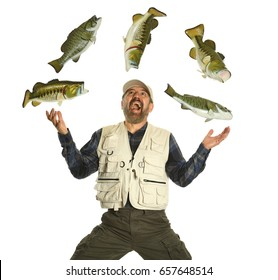Fisherman juggling with fish showing excitement isolated on a white background